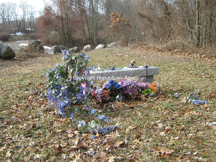 WATERBURY -- A memorial to Chloe Ottman, at the corner of Platts Mill Road and South Main Street. Ottman, 16, was murdered in July 2010.