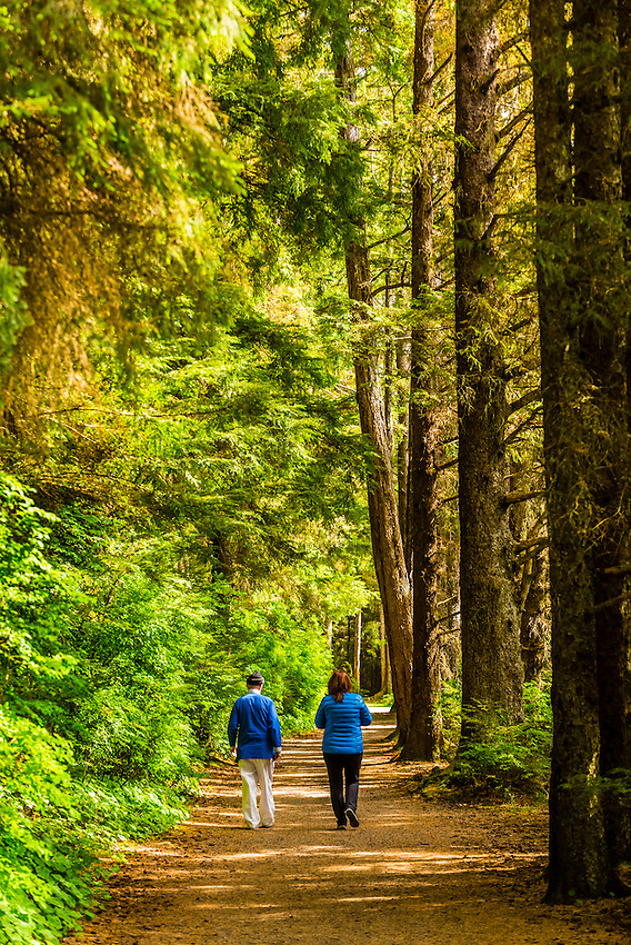 People walking along the Totem Trail, Sitka National Historical Park, Sitka, Alaska USA.