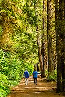 People walking along the Totem Trail, Sitka National Historical Park, Sitka, Alaska USA.