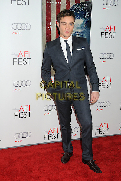 "Ed Westwick.AFI Fest 2011 Opening Night Gala Premiere of ""J. Edgar"" held at Grauman's Chinese Theatre, Hollywood, California, USA..November 3rd, 2011.full length white shirt grey gray suit hand in pocket .CAP/ADM/BP.©Byron Purvis/AdMedia/Capital Pictures."