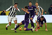9th February 2018, Stadio Artemio Franchi, Florence, Italy; Serie A football, ACF Fiorentina versus Juventus; (L-R) Federico Bernardeschi of Juventus is tackled by Milan Badelj of Fiorentina