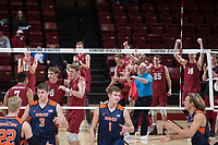 STANFORD, CA - March 3, 2018: Mason Tufuga, Leo Henken, Eric Beatty at Maples Pavilion. The Stanford Cardinal lost to Pepperdine, 3-0.