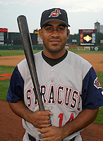 August 29, 2003:  Jorge Sequea of the Syracuse SkyChiefs during a game at Frontier Field in Rochester, New York.  Sequea was struck by a car and killed in 2005.  Photo by:  Mike Janes/Four Seam Images