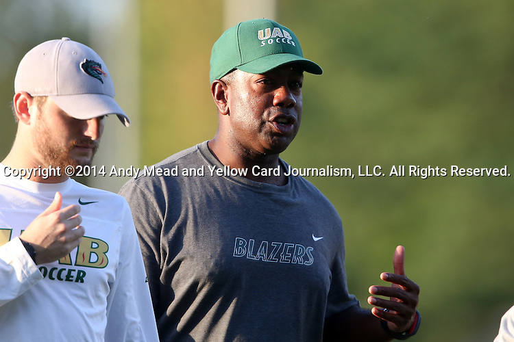 31 August 2014: UAB head coach Harold Warren (right) with assistant coach Garrett Linquist (left). The Duke University Blue Devils hosted the University of Alabama Birmingham Blazers at Koskinen Stadium in Durham, North Carolina in a 2014 NCAA Division I Women's Soccer match. Duke won the game 3-1.