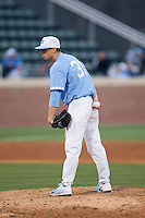 North Carolina Tar Heels relief pitcher Josh Hiatt (31) looks to his catcher for the sign against the Kentucky Wildcats at Boshmer Stadium on February 17, 2017 in Chapel Hill, North Carolina.  The Tar Heels defeated the Wildcats 3-1.  (Brian Westerholt/Four Seam Images)