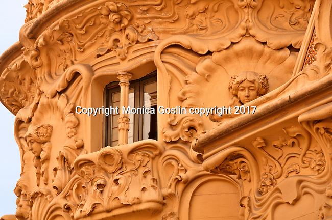 Detail of the art nouveau facade of the SGAE mansion (Sociedad General de Autores y Editores) in the Chueca neighborhood of Madrid, Spain