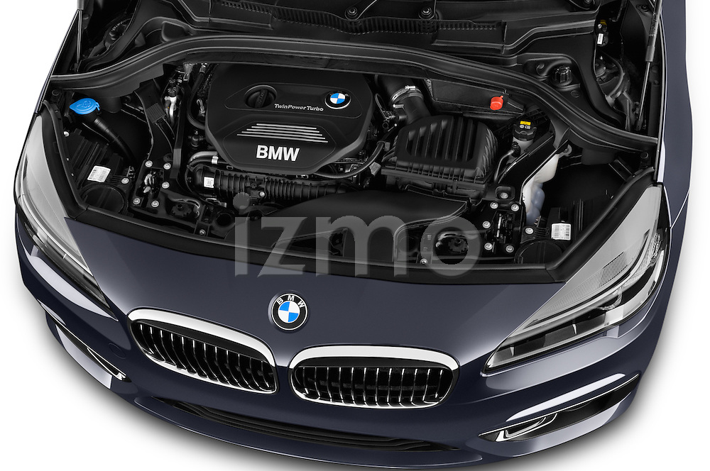 Car Stock 2015 BMW 2 Series Gran Tourer Luxury 5 Door Mini Mpv Engine high angle detail view