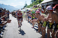 Alberto Losada (ESP/Katusha) cheered on while crossing the last mountain climb of the day; the Col de Peyresourde (Cat1/1569m/7.1km at 7.8%)<br /> <br /> stage 8: Pau - Bagnères-de-Luchon, 184km<br /> 103rd Tour de France 2016