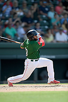 Third baseman Jonathan Ortega (29) of the Greenville Drive bats in a game against the Rome Braves on Sunday, June 30, 2019, at Fluor Field at the West End in Greenville, South Carolina. Rome won, 6-3. (Tom Priddy/Four Seam Images)