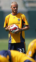 David Beckham at his first practice with the LA Galaxy at the Home Depot Center in Carson, California, Monday, July 16, 2007.