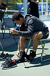 Eduardo Nava of the Wake Forest Demon Deacons gets ready prior to the match against the North Carolina Tar Heels at the 2018 ACC Men's Tennis Championship at the Cary Tennis Center on April 29, 2018 in Cary, North Carolina.  The Demon Deacons defeated the Tar Heels 4-0.  (Brian Westerholt/Sports On Film)