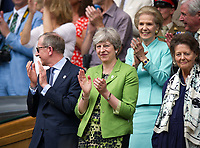 British Prime Minister Theresa May in attendance at the Gentlemen's Singles Final<br /> <br /> Photographer Ashley Western/CameraSport<br /> <br /> Wimbledon Lawn Tennis Championships - Day 13 - Sunday 16th July 2017 -  All England Lawn Tennis and Croquet Club - Wimbledon - London - England<br /> <br /> World Copyright &not;&copy; 2017 CameraSport. All rights reserved. 43 Linden Ave. Countesthorpe. Leicester. England. LE8 5PG - Tel: +44 (0) 116 277 4147 - admin@camerasport.com - www.camerasport.com