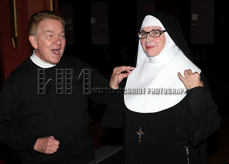 Dan Goggin and Cindy Williams performing a preview of 'Nunset Boulevard: The Nunsense Hollywood Bowl Show' at the Bowlmor Lanes Thursday, Sept. 27, 2012 in Times Square, New York.