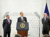 McLean, VA - April 20, 2009 -- United States President Barack Obama makes remarks to Central Intelligence Agency (CIA) employees at the George Bush Center for Intelligence (CIA Headquarters) in McLean, Virginia on Monday, April 20, 2009. CIA Director Leon Panetta, left, and Deputy Director Steve Kappas, right, look on..Credit: Ron Sachs / Pool via CNP