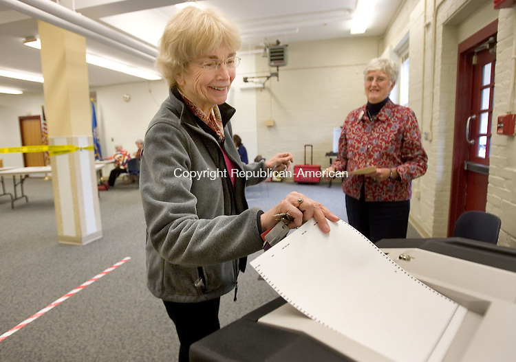 MIDDLEBURY, CT. 02 May 2012-050212SV04-Barbara O'Reilly of Middlebury votes on the board of education budget at the Shepardson Community Center in Middlebury Wednesday..Steven Valenti Republican-American