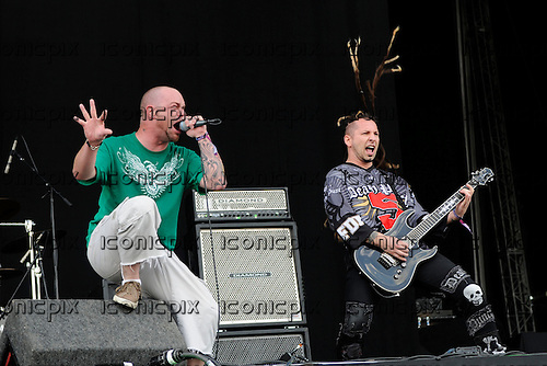Five Finger Death Punch - vocalist Ivan Moody and Zoltan Bathory performing live on Day Two on the Main Stage at the 2009 Download Festival, Donington Park, Leicestershire, UK - 13 Jun 2009.  Photo by: George Chin/IconicPix