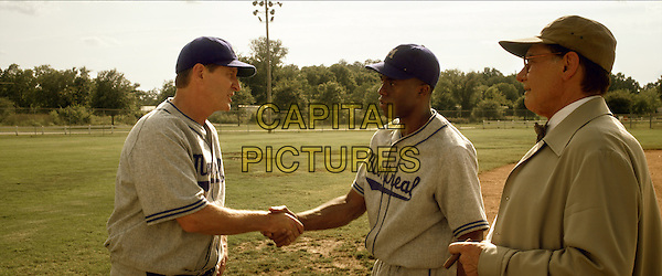 BRETT CULLEN, CHADWICK BOSEMAN &amp; HARRISON FORD<br /> in 42: The True Story of An American Legend (2013) <br /> *Filmstill - Editorial Use Only*<br /> CAP/NFS<br /> Image supplied by Capital Pictures