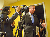 Mayor Bill de Blasio of New York City arrives for a press briefing following his meetings at the White House with senior officials on the terrorism threat and dealing with the Ebola crisis in Washington, D.C. on Tuesday, October 14, 2014. <br /> Credit: Ron Sachs / CNP<br /> (RESTRICTION: NO New York or New Jersey Newspapers or newspapers within a 75 mile radius of New York City)