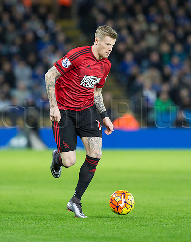 01.03.2016. King Power Stadium, Leicester, England. Barclays Premier League. Leicester versus West Bromwich Albion. West Bromwich Albion midfielder James McClean on the ball.