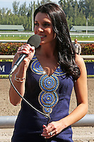 HALLANDALE BEACH, FL - JANUARY 28:  Shea Leparoux sings the National Anthem on Pegasus World Cup Invitational Day at Gulfstream Park on January 28, 2017 in Hallandale Beach, Florida. (Photo by Liz Lamont/Eclipse Sportswire/Getty Images)