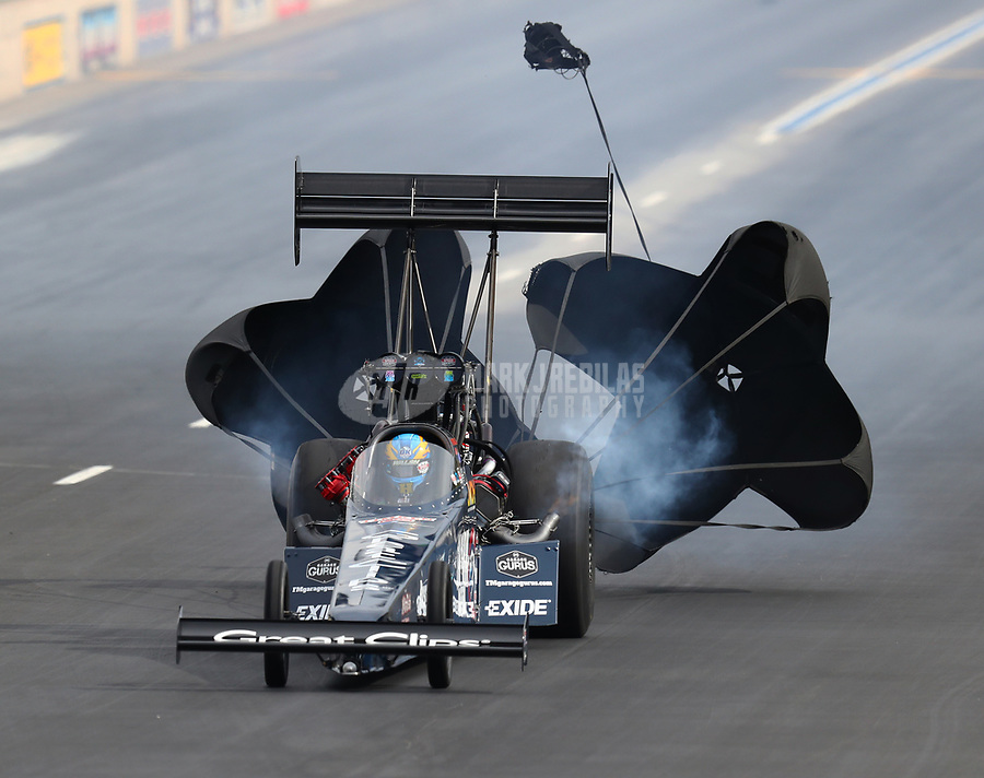 Jul 22, 2017; Morrison, CO, USA; NHRA top fuel driver Clay Millican during qualifying for the Mile High Nationals at Bandimere Speedway. Mandatory Credit: Mark J. Rebilas-USA TODAY Sports