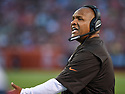 CLEVELAND, OH - AUGUST 18, 2016: Head coach Hue Jackson of the Cleveland Browns argues a call as he stands on the sideline in the first quarter of a preseason game on August 18, 2016 against the Atlanta Falcons at FirstEnergy Stadium in Cleveland, Ohio. Atlanta won 24-13. (Photo by: 2016 Nick Cammett/Diamond Images) *** Local Caption *** Hue Jackson
