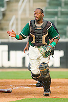 Carlos Paulino #1 of the Greensboro Grasshoppers on defense against the Kannapolis Intimidators at Fieldcrest Cannon Stadium August 2, 2010, in Kannapolis, North Carolina.  Photo by Brian Westerholt / Four Seam Images