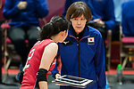 Head coach Kumi Nakada (R) of Japan gives instruction to Wing spiker Sarina Koga (L) of Japan during the FIVB Volleyball World Grand Prix - Hong Kong 2017 match between Japan and Serbia on 22 July 2017, in Hong Kong, China. Photo by Yu Chun Christopher Wong / Power Sport Images