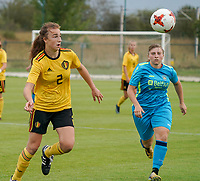 20200820 - TUBIZE , Belgium : Belgium's Maude Lecoq (2) with the high ball  during a friendly match between Belgian national women's youth soccer team called the Red Flames U17 and Union Saint-Ghislain Tetre , on the 20th of August 2020 in Tubize.  PHOTO: Sportpix.be | SEVIL OKTEM