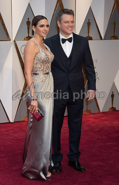 26 February 2017 - Hollywood, California - Matt Damon, Luciana Barroso. 89th Annual Academy Awards presented by the Academy of Motion Picture Arts and Sciences held at Hollywood & Highland Center. Photo Credit: AMPAS/AdMedia