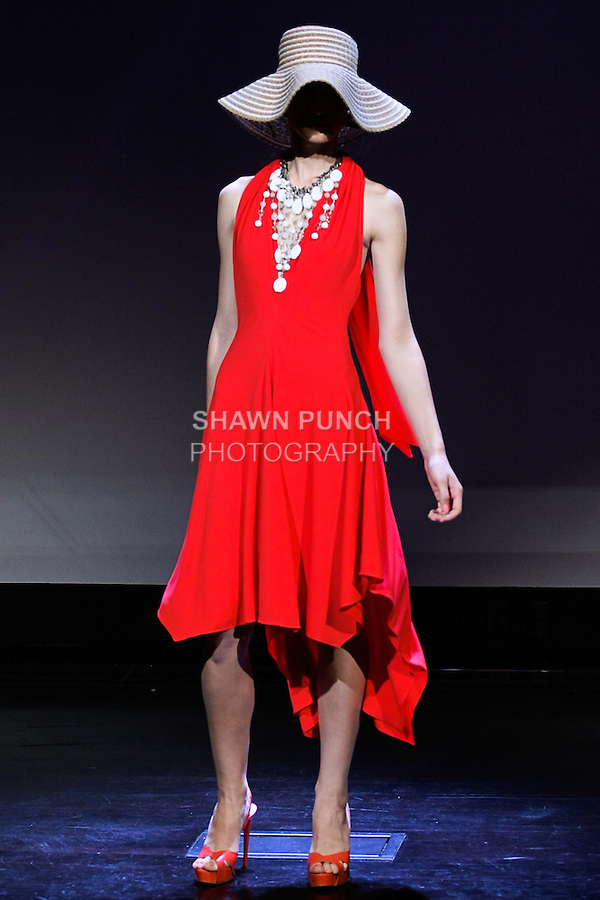 "Ewina poses in an outfit from the Douglas Hannant Spring 2013 ""A Daydream"" collection, at the New York Historical Society, during New York Fashion Week Spring 2013."