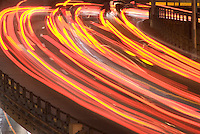 AVAILABLE FROM JEFF AS A FINE ART PRINT.<br /> <br /> AVAILABLE FOR COMMERCIAL AND EDITORIAL LICENSING FROM PLAINPICTURE.  Please go to www.plainpicture.com and search for image # p5690065.<br /> <br /> Blurred Motion View of Traffic/Car Headlights on a Highway, Brooklyn-Queens Expressway, Brooklyn, New York City, New York State, USA