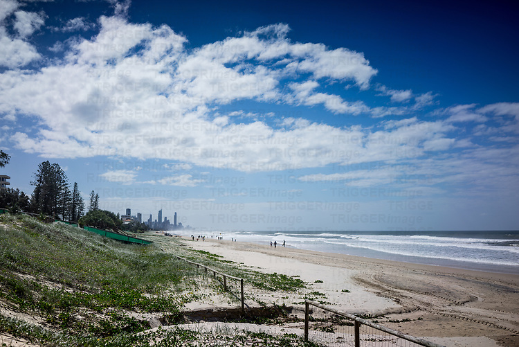 Lond distant beach on Gold Coast