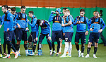 Rangers players having a drink at training