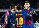 Lionel Andres Messi of FC Barcelona celebrates his second goal with teammates during the Copa Del Rey 2017-18 Round of 16 (2nd leg) match between FC Barcelona and RC Celta de Vigo at Camp Nou on 11 January 2018 in Barcelona, Spain. Photo by Vicens Gimenez / Power Sport Images