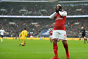 10th February 2018, Wembley Stadium, London England; EPL Premier League football, Tottenham Hotspur versus Arsenal; A dejected Alexandre Lacazette of Arsenal as he misses a chance on goal in injury time