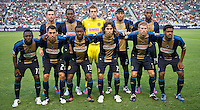 CARSON, CA - July 4, 2012: Philadelphia Union starting lineup for the LA Galaxy vs Philadelphia Union match at the Home Depot Center in Carson, California. Final score LA Galaxy 1, Philadelphia Union 2.