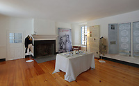 Exhibition about life in New France, ground floor room in the Museum in the Manoir Boucher de Niverville, built in 1668 in French colonial style by Jacques LeNeuf de la Poterie, Governor of Trois-Rivieres, on the Rue Bonaventure in Trois-Rivieres, Mauricie, on the Chemin du Roi, Quebec, Canada. The Chemin du Roy or King's Highway is a historic road along the Saint Lawrence river built 1731-37, connecting communities between Quebec City and Montreal. Picture by Manuel Cohen