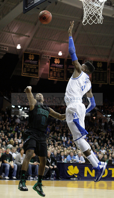 UK forward Nerlens Noel blocks a shot from Notre Dame guard Eric Atkins during the first half of the UK men's basketball game v. University of Notre Dame in Purcell Pavilion in South Bend, In., on Thursday, November 29, 2012. Photo by Genevieve Adams | Staff