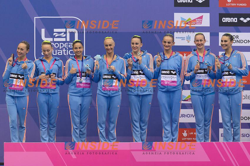 UKRAINE UKR Silver Medal <br /> ANANASOVA, VOLOSHYNA, IUSHKO, GRECHYKHINA, SAVCHUK, SYDORENKO, SABADA, SADURSKA, ZOLOTAROVA, KONDRASHOVA <br /> Team Technical Final <br /> London, Queen Elizabeth II Olympic Park Pool <br /> LEN 2016 European Aquatics Elite Championships <br /> Synchronized Swimming <br /> Day 01 09-05-2016<br /> Photo Andrea Staccioli/Deepbluemedia/Insidefoto