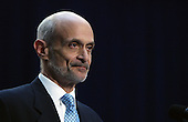 Washington, D.C. - March 3, 2005 -- United States Secretary of Homeland Security Michael Chertoff makes remarks after taking the oath of office at the Ronald Reagan Building in Washington, DC on March 3, 2005. <br /> Credit: Dennis Brack - Pool via CNP