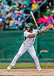 25 July 2017: Vermont Lake Monsters outfielder Logan Farrar, a 36th round draft pick for the Oakland Athletics, in action against the Tri-City ValleyCats at Centennial Field in Burlington, Vermont. The Lake Monsters defeated the ValleyCats 11-3 in NY Penn League action. Mandatory Credit: Ed Wolfstein Photo *** RAW (NEF) Image File Available ***