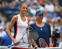 FLUSHING NY- SEPTEMBER 10: Angelique Kerber and Karolina Pliskova pose at the new before the womens finals on Arthur Ashe Stadium at the USTA Billie Jean King National Tennis Center on September 10, 2016 in Flushing Queens. Credit: mpi04/MediaPunch
