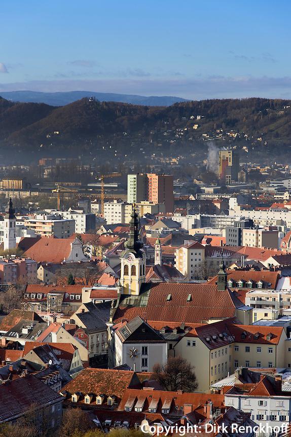 Blick vom Schlossberg, Graz, Steiermark, &Ouml;sterreich, , UNESCO-Weltkulturerbe<br /> View from Schlossberg, Graz, Styria, Austria, heritage site Blick vom Schlossberg, Graz, Steiermark, &Ouml;sterreich, , UNESCO-Weltkulturerbe<br /> View from Schlossberg, Graz, Styria, Austria, heritage site