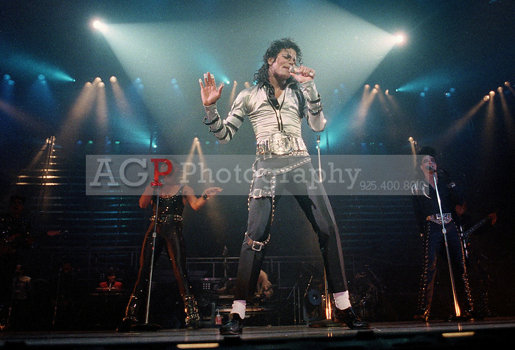 Nov 13, 1988 - Los Angeles, California, USA - Pop singer Michael Jackson performs before a sold out crowd at the Los Angeles Sports Arens Sunday night, Nov. 13, 1988, the first of Jackson's six Los Angeles concerts, all of which are sellouts..(Credit Image: © Alan Greth)