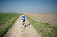 Simone Antonini's (ITA/Wanty-Groupe Gobert) introduction to the Roubaix cobbles in the Haveluy to Wallers sector.<br /> Steep learning curve required... <br /> <br /> 2015 Paris-Roubaix recon