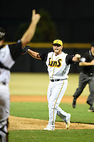 Jacksonville Suns pitcher Frankie Reed (28) throws up his arms in celebration after closing out game three of the Southern League Championship Series against the Chattanooga Lookouts on September 12, 2014 at Bragan Field in Jacksonville, Florida.  Jacksonville defeated Chattanooga 6-1 to sweep three games to none.  (Mike Janes/Four Seam Images)