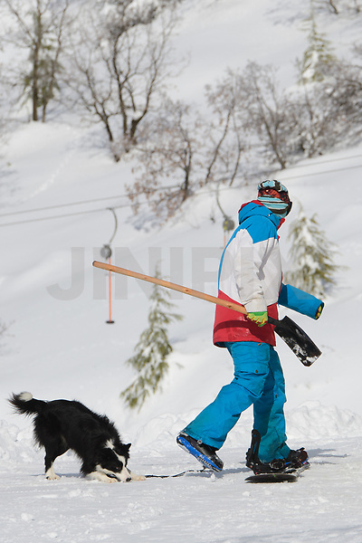 Workers of the Hermon Israeli Ski resort walks in the snow at the Israeli-occupied Golan Heights, on January 10, 2019. Photo by: Ayal Margolin-JINIPIX