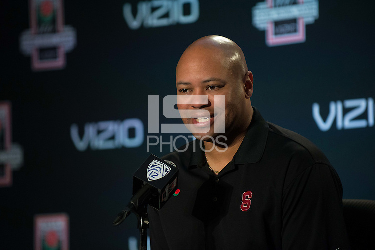 LOS ANGELES, CA  - Stanford Cardinal Head Coach David Shaw fields questions from the media at the LA Hotel in preparation for the 100th Rose Bowl Game in Pasadena.