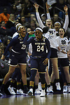 COLUMBUS, OH - MARCH 30: Arike Ogunbowale #24 of the Notre Dame Fighting Irish celebrates making a basket against Connecticut during a semifinal game of the 2018 NCAA Division I Women's Basketball Final Four at Nationwide Arena in Columbus, Ohio. (Photo by Justin Tafoya/NCAA Photos via Getty Images)